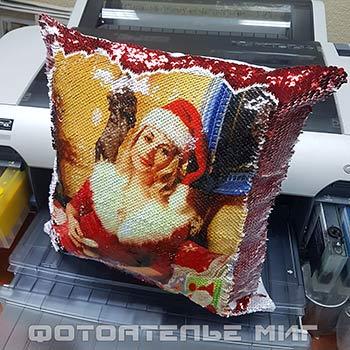 Фото на подушке с пайетками