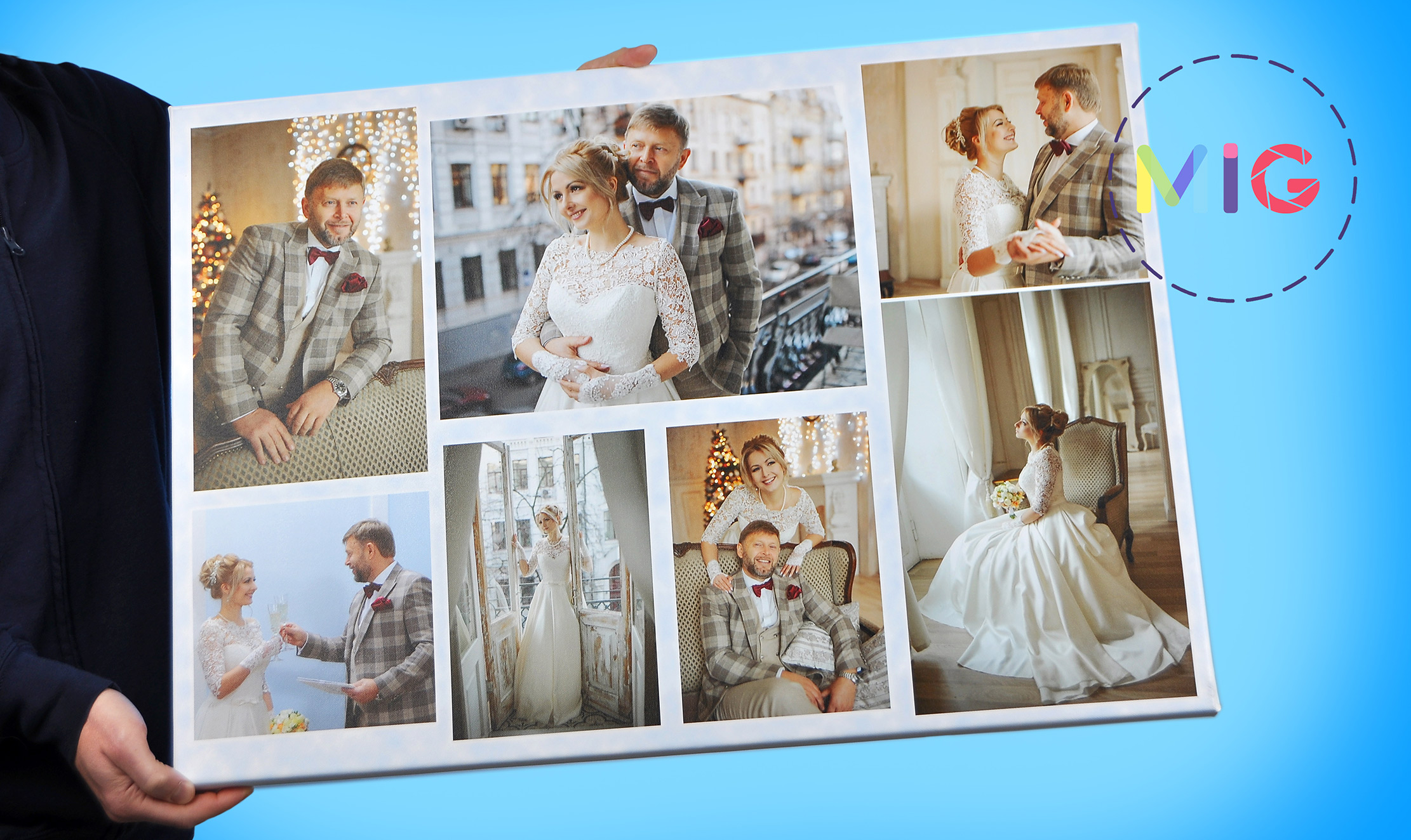 Свадебный коллаж на холсте